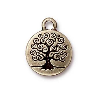 TierraCast Brass Oxide Finish Pewter Round Tree Of Life Charm 19mm (1)