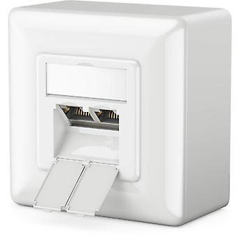 FengChun 1x CAT 6a Universal Netzwerkdose - 2X RJ45 Port - Geschirmt - Aufputz oder Unterputz - 10