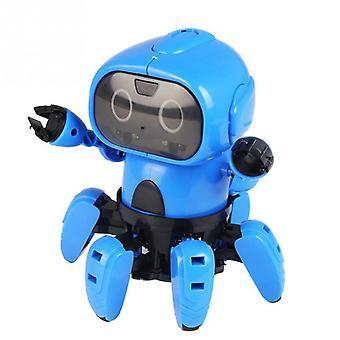 Nový inteligentnírobot diy robot s vyhýbáním se překážkám dětské vzdělávací hračky  RC robot (modrý)