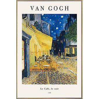 JUNIQE Print - van Gogh - Kahvilaterassi yöllä - Vincent Van Gogh Juliste sinisellä ja keltaisella