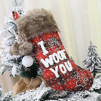 Joulu sukka joulu koristeet turkis kaulus pallo ruudullinen