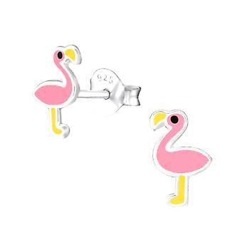 Pendientes de espárragos de plata esterlina rosa flamingo para niños