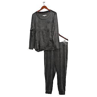 Carole Hochman Petite Silky Stretch Velour Jogger Set Gray A368282