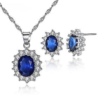 2szt Biżuteria Zestaw Cyrkon Micro Inkrułowane Cyrkon Kobiety Naszyjnik Kolczyki do codziennego użytku