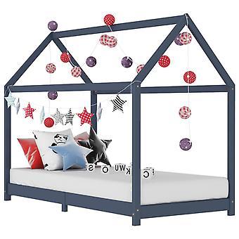 vidaXL الأطفال السرير الإطار رمادي الخشب الصلب الصنوبر 70 × 140 سم