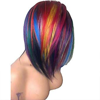 Short Straight Bob Mixed Color Synthetic Wig Cosplay Costume Party Wigs