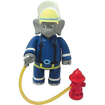 Benjamin Blümchen Figur als Feuerwehrmann 10806, bewegliche Spielfigur ca. 9 cm groß, detailgetreue