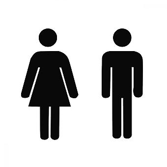 Adhesive Men's And Women's Sign, Bathroom Toilet Gender Sign(black)