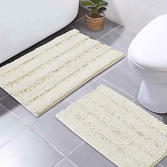 Tapis de bain en ivoire tapis de douche antidérapants extra absorbants tapis de bain épais doux et moelleux, tapis de sol en microfibre antidérapants-50x80cm plus 43x 61cm