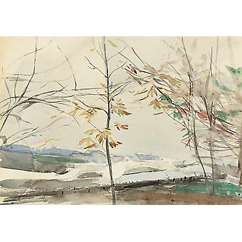 Wallpaper Art Mural Autumn Landscape with Trees by Giovanni Boldini