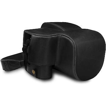 Ever Ready Leder Kameratasche mit Trageriemen kompatibel mit Leica V-Lux 5, Panasonic Lumix