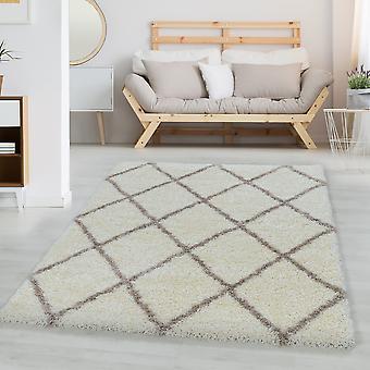 Tapis de salon design tapis hauteflor motif losange flor couleur douce crème