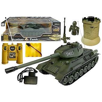Rádiem řízený armádní tank - 26 cm - zelený - s infračerveným bunkrem