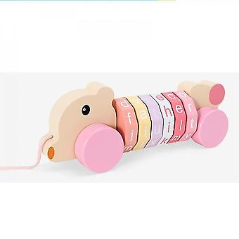 Bear letters pink wooden rotating cylinder block mathematics numbers mz728