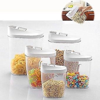Storage tanks itian 5 pcs different size locking clear acrylic plastic food storage jars canister set ideal for