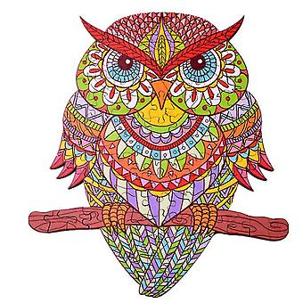 Yellow Owl Wooden Jigsaw Puzzle Piece Game per bambini e adulti (A4)