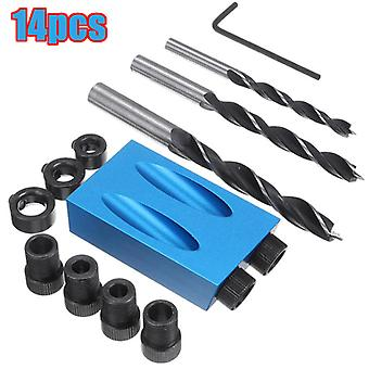 Pocket Hole Jig Kit Guides 15' Angle Carving Drill Bit Carpentry Tool