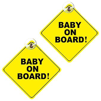 Baby On Board Sign, 2pcs Removable Kids Safety Warning Baby On Board Sticker Sign For Car Warning With Suction Cups