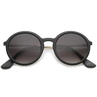 Mid Size Modern Metal Temple Gradient Lens Round Sunglasses 49mm