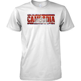 Kambodža Grunge maan nimi lippu vaikutus - Miesten T-paita