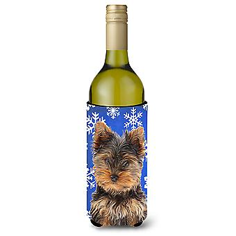 Winter Snowflakes Holiday Yorkie Puppy / Yorkshire Terrier Wine Bottle Beverage