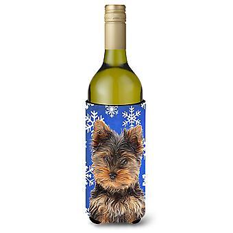 Winter sneeuwvlokken Vakantiewoningen Yorkie Puppy / Yorkshire Terriër wijn fles drank