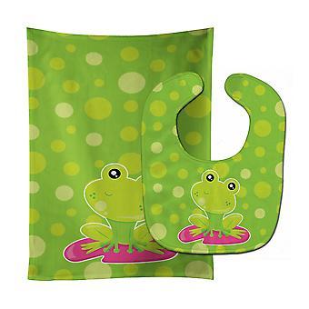 Frog on Lily Pad Green Polkadots Baby Bib & Burp Cloth