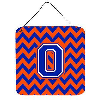 Letra O Chevron laranja e azul parede ou porta-impressões de suspensão