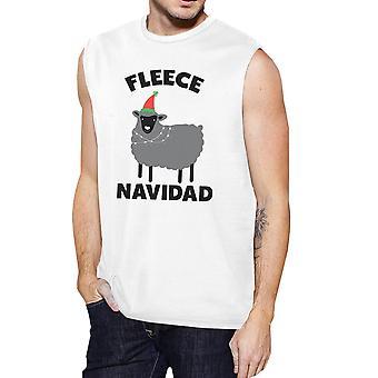 Paño grueso y suave para hombre Navidad músculo blanco t-shirt