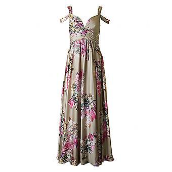永遠にユニークなサテン花柄ロングドレス