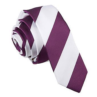 Violetti & valkoinen raidallinen laiha solmio