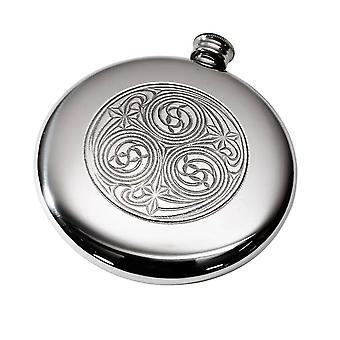 Round Kells Sporran Pewter Flask - 4oz
