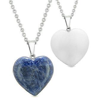 Amulets Lucky Puffy Hearts Love Couples or Best Friends Set Sodalite White Quartz Pendant Necklaces