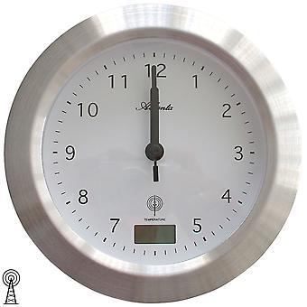 Atlanta 4204/19 vegg klokke bad klokkeradio sølv vann beskyttet med termometer