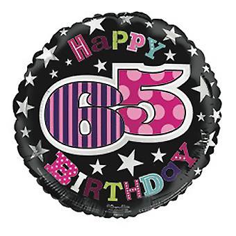 Simon Elvin 18 Inch Happy 65th Birthday Star Design Foil Balloon