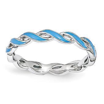 2mm 925 Sterling Zilver gepolijst Rhodium verguld stackable expressies Blue Enamel Ring Sieraden Geschenken voor vrouwen - Ring Si