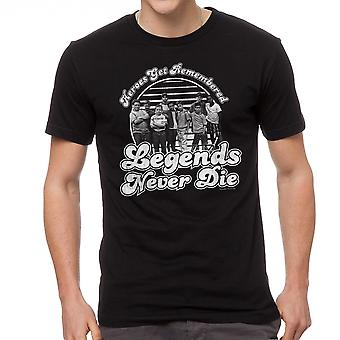 Sandlot Heroes Get Remembered Legends Never Die Cast Men's Black T-shirt