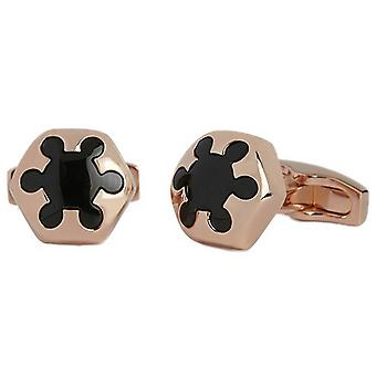 Simon Carter Radial Onyx and Rose Gold Cufflinks - Rose Gold/Black