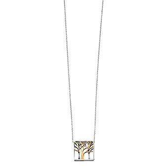 Elements Silver Cut Out Tree Square Necklace - Silver/Gold