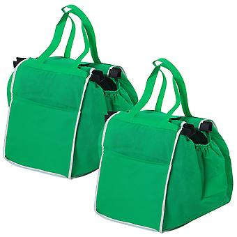 TRIXES Pack of 2 Green Foldable Grocery Shopping Bags