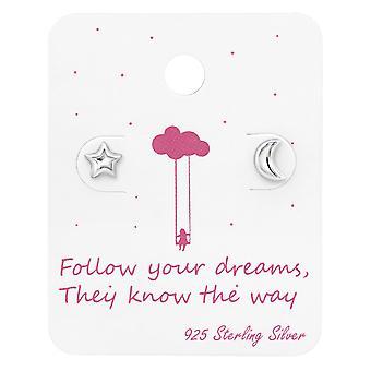 Moon & Star Ear Studs On Cute Card - 925 Sterling Silver Sets - W34116X