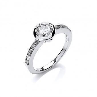 Кавендиш французский штраф серебра и кубического циркония кольцо пасьянс