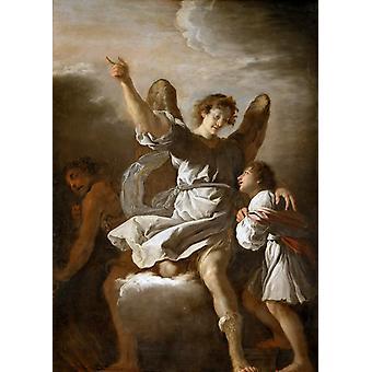 L ' Ange Gardien protegeant un L'Enfant de, Domenico Fetti, 60x40cm