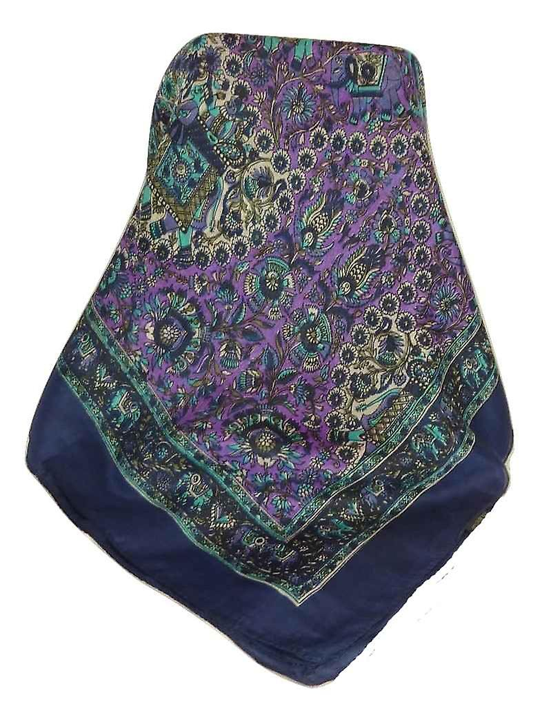 Mulberry Silk Traditional Square Scarf Mani Navy by Pashmina & Silk