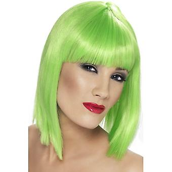 قصيرة الأخضر النيون مستقيم شعر مستعار، شعر مستعار جلام مع هامش، يتوهم التبعي اللباس.