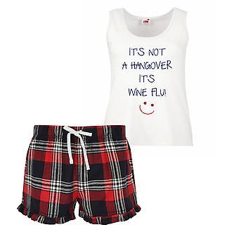 Se ei ole krapula on viini flunssa hyvät Tartan röyhelö lyhyt Pyjama asettaa punainen sininen tai vihreä sininen