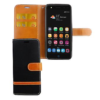 Tasche für ZTE Blade V7 Lite Jeans Cover Handy Schutz Hülle Case Schwarz