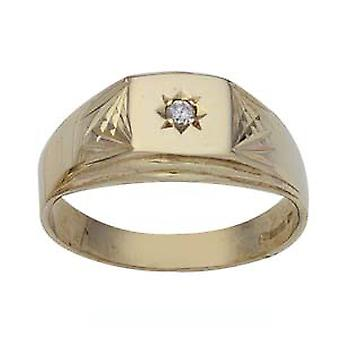 9ct goud vierkante diamant geslepen schouders instellen met 3pts diamant jurk Ring grootte Z