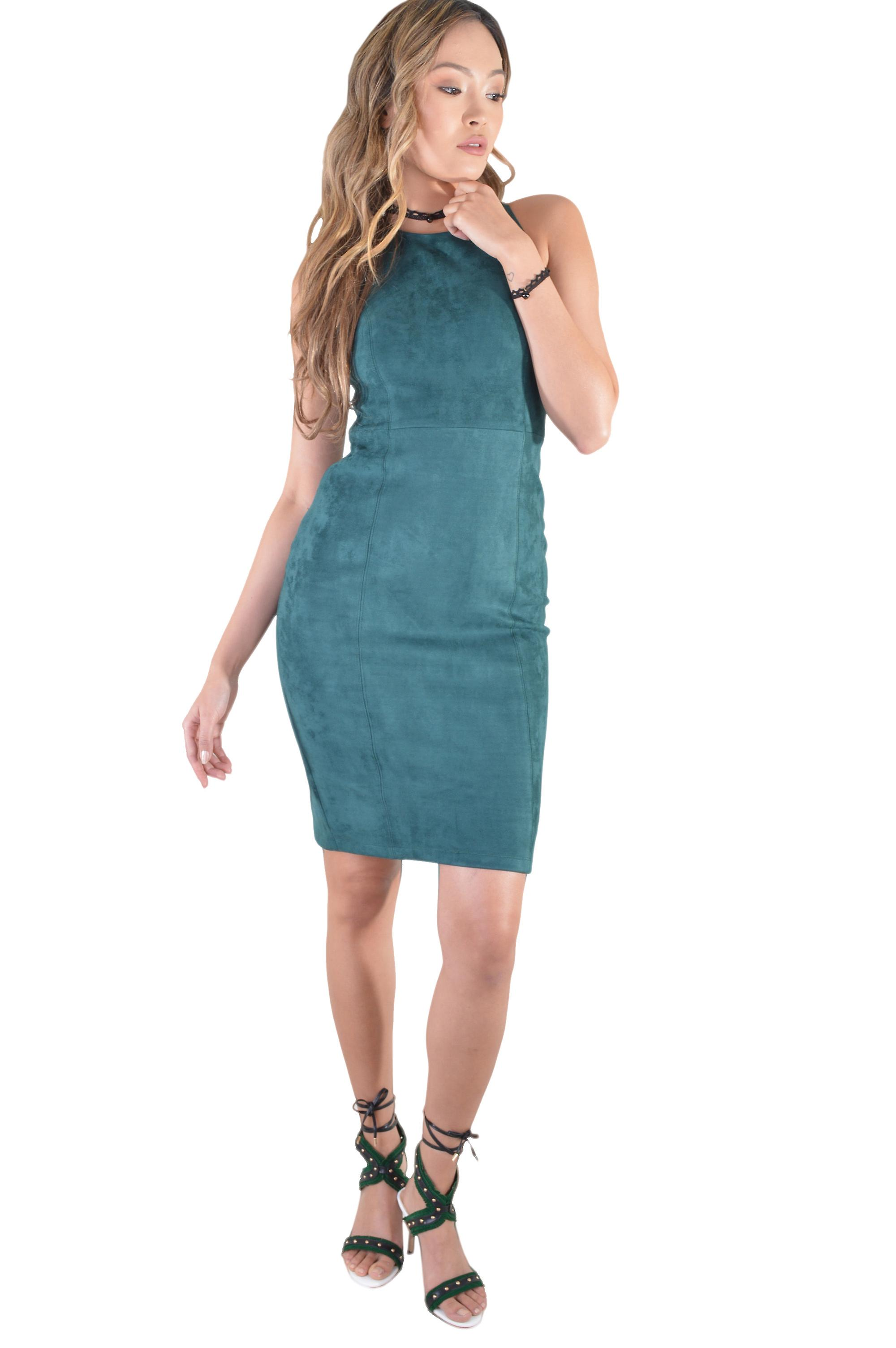 Lovemystyle Suede Dress With Cut Out Back In Green