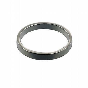 18 quilates de oro blanco 3mm de llano plano Z de tamaño de anillo de boda